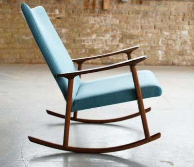 rocking chair design scandinave bleu