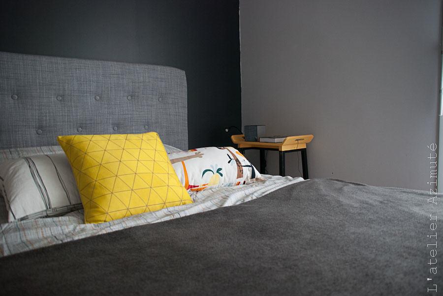 Une chambre moderne en gris et jaune relooking l 39 atelier for Chambre jaune et gris