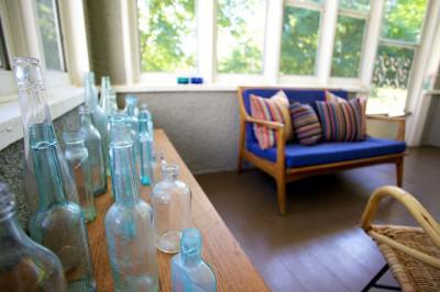 canapé bleu design scandinave