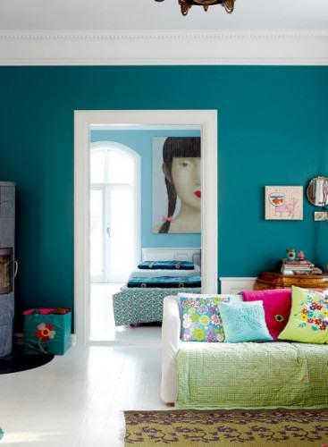 Rice mur turquoise salon