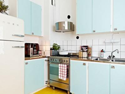 cuisine bleu ciel vintage