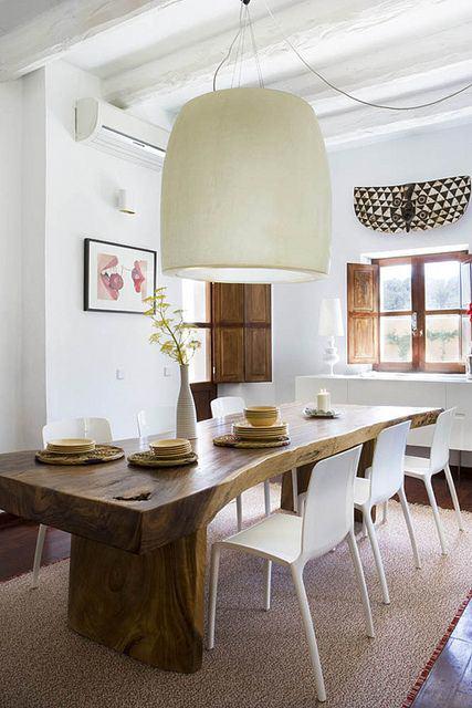 salle-a-manger-tronc-arbre-luminaire