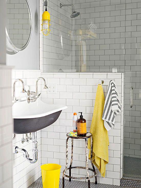 Inspiration couleur : Noir, blanc, jaune, rayures - Salle d'eau