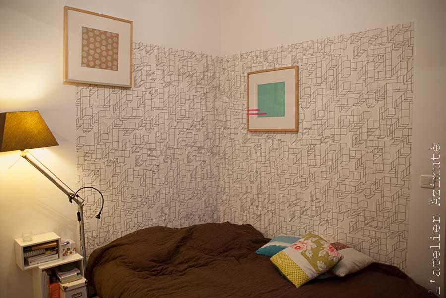 Papier peint architectural noir blanc chambre