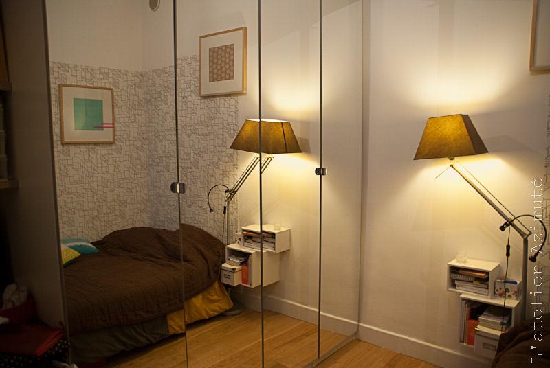 Papier peint architectural noir blanc chambre - dans le miroir