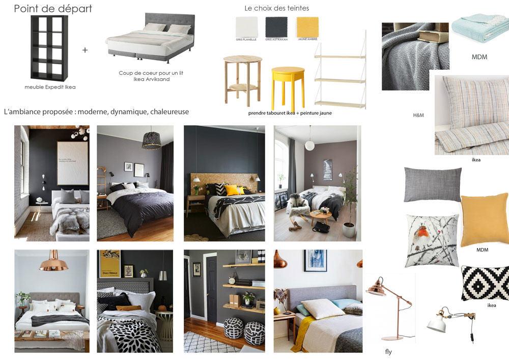 chambre-gris-fonce-jaune-gris-clair-blanc-noir