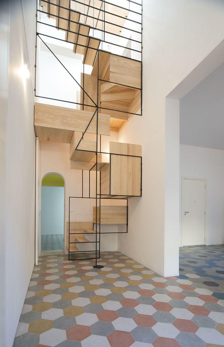 escalier-bois-metal-scultpure