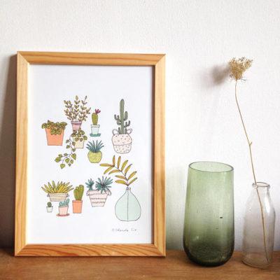 Affiche Succulentes, Mademoiselle Yo
