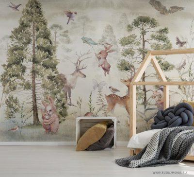 Papier peint panoramique enfant Forêt - Eudajmonia Wallart