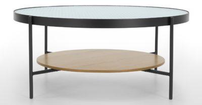Table basse chêne et verre texturé - Made.com